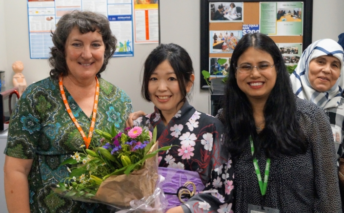 Saori with her teacher, Lynda and ESL Director Nita