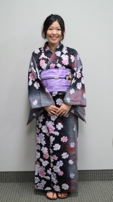 Saori dressed in her traditional costume for the presentation.